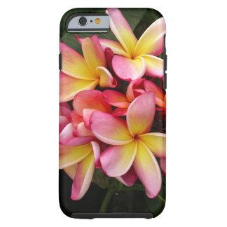 Flores tropicales del Plumeria del rosa y del Funda De iPhone 6 Tough