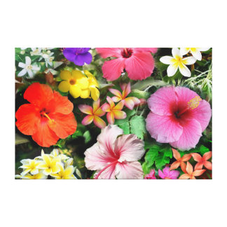 Flores tropicales impresión en tela