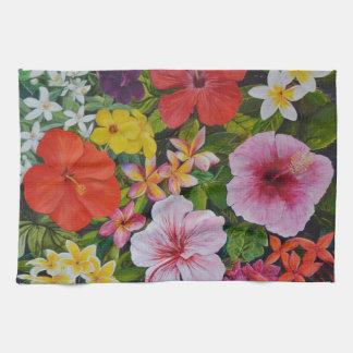 Flores tropicales toalla de cocina