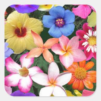 Flores tropicales pegatina cuadrada