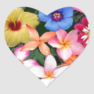 Flores tropicales pegatina en forma de corazón