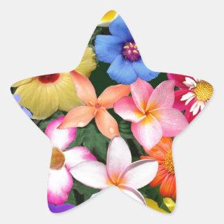 Flores tropicales pegatina en forma de estrella