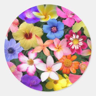 Flores tropicales pegatina redonda