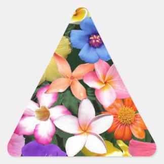 Flores tropicales pegatina triangular