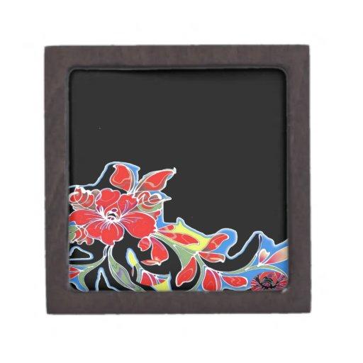 Flores tropicales rojas con diseño negro caja de joyas de calidad