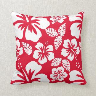 Flores tropicales rojas del hibisco del cadmio cojín