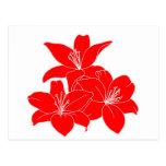 Flores tropicales rojas tarjeta postal