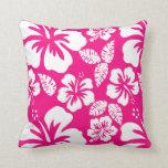 Flores tropicales rosadas brillantes del hibisco almohada