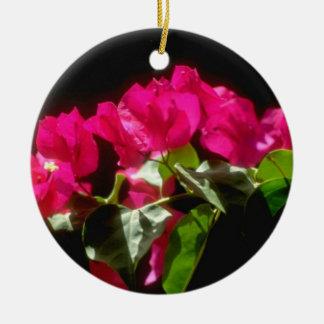 Flores tropicales rosadas, flores de Ocho Rios Adorno Redondo De Cerámica