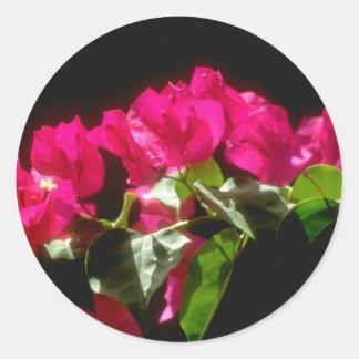 Flores tropicales rosadas, flores de Ocho Rios Pegatina Redonda