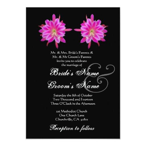 Flores tropicales ROSADAS que casan la invitación Invitación 12,7 X 17,8 Cm