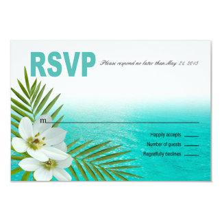 """Flores tropicales RSVP de la playa de la hawaiana Invitación 3.5"""" X 5"""""""