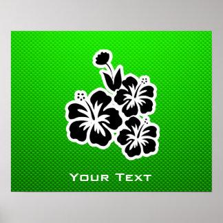 Flores tropicales verdes poster