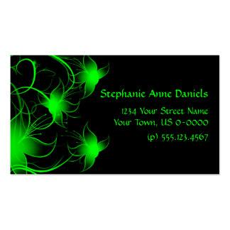 Flores verdes claras de Swirly en tarjeta de visit Tarjetas De Visita