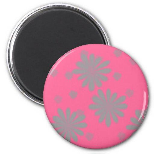 Flores verdes con el fondo rosado imán redondo 5 cm