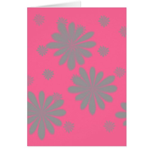 Flores verdes con el fondo rosado tarjetas