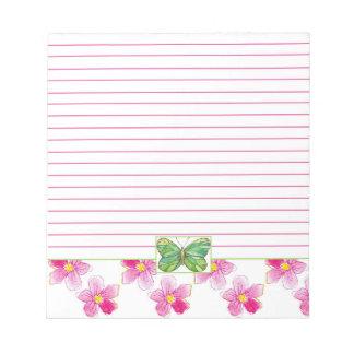 Flores verdes de la acuarela del rosa de la blocs de notas