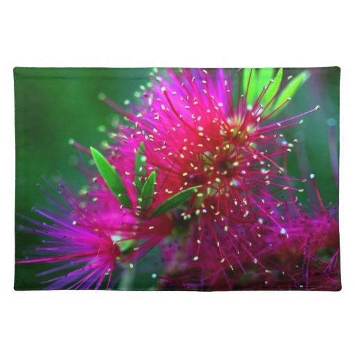 Flores verdes de neón de las rosas fuertes florale mantel individual