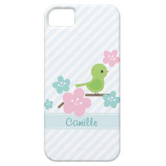 Flores verdes del pájaro y de la cereza iPhone 5 Case-Mate carcasa