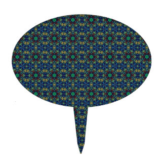 Flores verdes en fondo azul. Modelo de las gotas Decoraciones Para Tartas