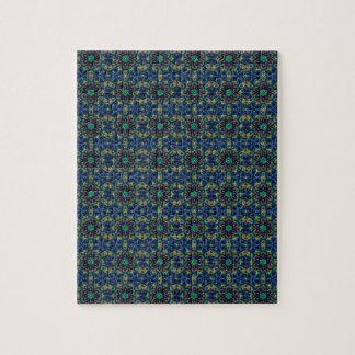 Flores verdes en fondo azul Modelo de las gotas Rompecabezas