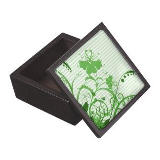 Flores verdes en rayas caja de joyas de calidad