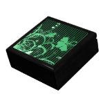 Flores verdes en verde y rayas negras caja de recuerdo