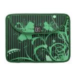Flores verdes en verde y rayas negras fundas macbook pro
