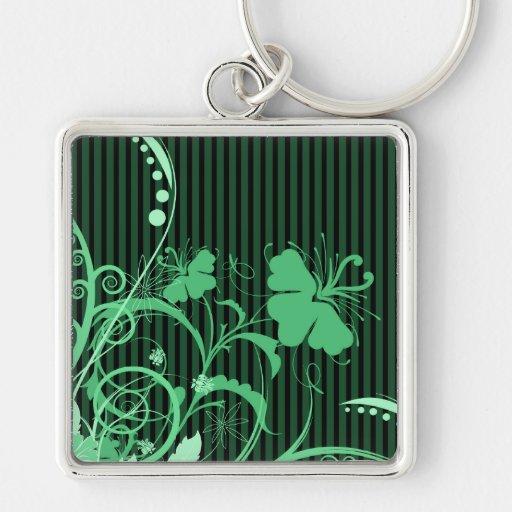 Flores verdes en verde y rayas negras llaveros