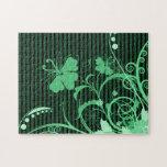 Flores verdes en verde y rayas negras puzzles con fotos