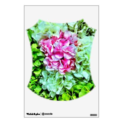 Flores verdes poner crema rosadas hermosas del vinilo adhesivo