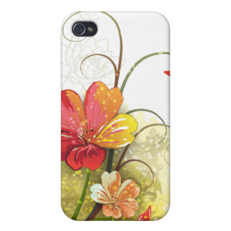 Flores verdes rojas + caso del iphone 4 de la mari iPhone 4 protectores
