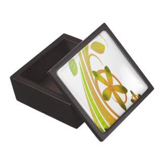 Flores verdes y anaranjadas abstractas en blanco caja de regalo de calidad