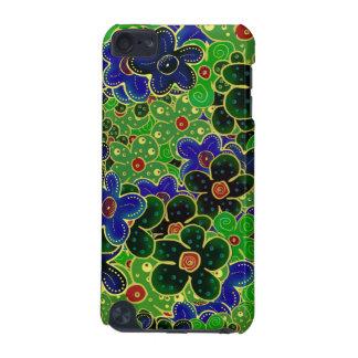 Flores verdes y azules con el accesorio de oro funda para iPod touch 5G