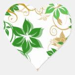 Flores verdes y beige cepilladas 2 calcomanías corazones personalizadas