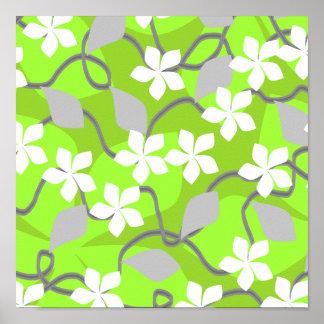 Flores verdes y blancas. Modelo floral Poster