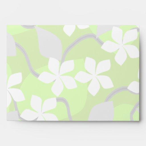 Flores verdes y blancas. Modelo floral Sobres