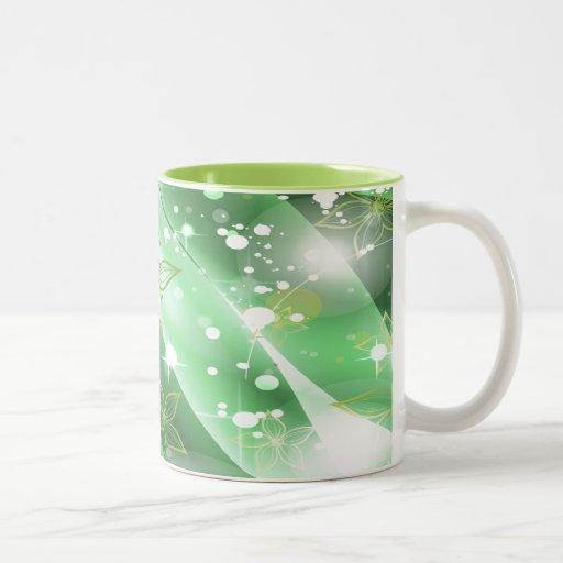 Flores verdes y magníficas taza