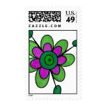 Flores verdes y púrpuras de la diversión sello
