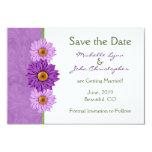 Flores verdes y púrpuras que casan reserva la comunicado personal