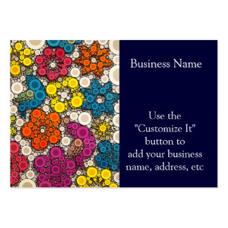 Flores vibrantes e intrépidas con los círculos tarjetas personales