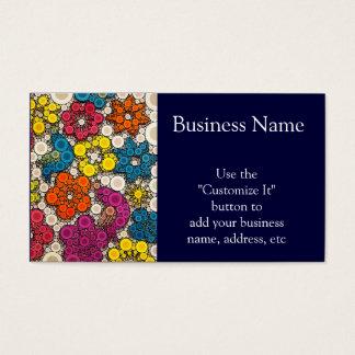 Flores vibrantes e intrépidas con los círculos tarjetas de visita