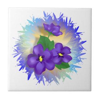 Flores violetas azulejo ceramica