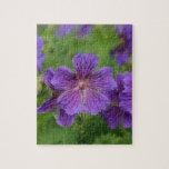 Flores violetas de Cranesbill Rompecabezas Con Fotos