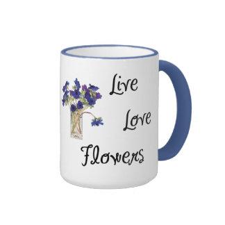 Flores vivas del amor taza de dos colores