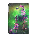 Flores y abeja rosadas contra/retina del iPad del