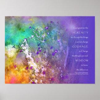 Flores y árbol del rezo de la serenidad impresiones