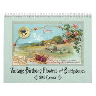 Flores y Birthstones del cumpleaños del vintage Calendario De Pared