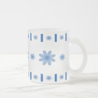 Flores y bloques azules taza cristal mate
