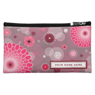 Flores y bolso cosmético personalizado puntos